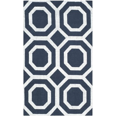 Branford Hand-Loomed Navy & Silver Area Rug Rug Size: Rectangle 23 x 39