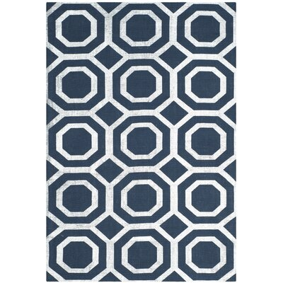 Branford Hand-Loomed Navy & Silver Area Rug Rug Size: Rectangle 4 x 6
