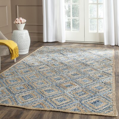 Gilchrist Traditional Hand-Woven Natural/Blue Area Rug Rug Size: 5 x 8