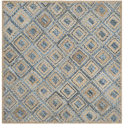 Cromwell Hand-Woven Natural/Blue Area Rug Rug Size: Square 6'