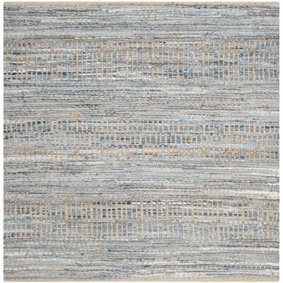 Bernd Hand-Woven Natural/Blue Area Rug Rug Size: Square 6