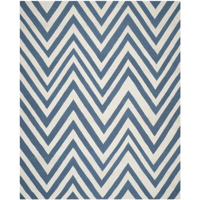 Blaisdell Hand-Woven Blue/Ivory Area Rug Rug Size: Rectangle 8 x 10