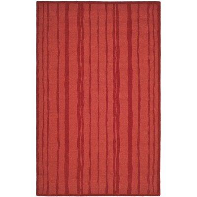 Freehand Stripe Hand-Loomed Vermillon Area Rug Rug Size: 5 x 8