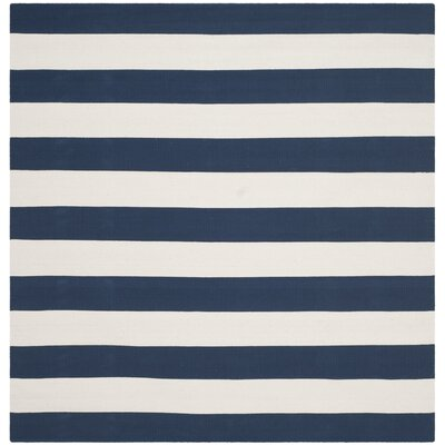 Brookvale Hand-Woven Cotton Navy/Ivory Area Rug Rug Size: Square 6