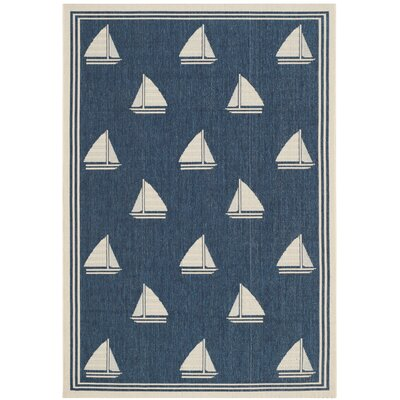 Sharon Navy/Beige Indoor/Outdoor Area Rug Rug Size: 4' x 5'7
