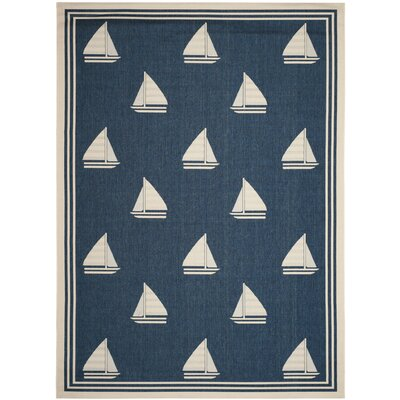 Sharon Navy/Beige Indoor/Outdoor Area Rug Rug Size: 5'3