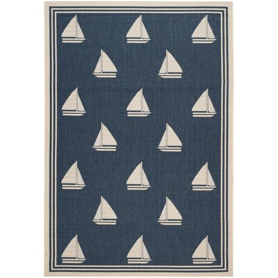 Sharon Navy/Beige Indoor/Outdoor Area Rug Rug Size: 67 x 96