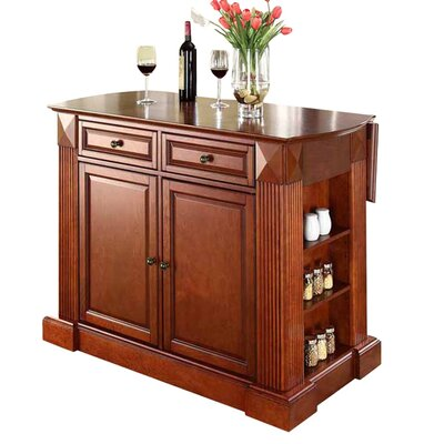 Byron Drop Leaf Breakfast Bar Top Kitchen Island Base Finish: Classic Cherry