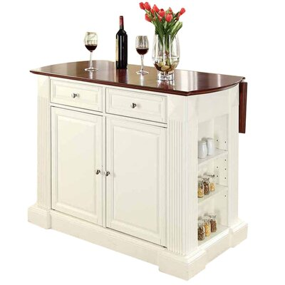 Plumeria Drop Leaf Breakfast Bar Top Kitchen Island Base Finish: White