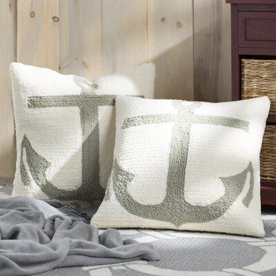 James Anchor Throw Pillow Color: White / Tropical L. Grey