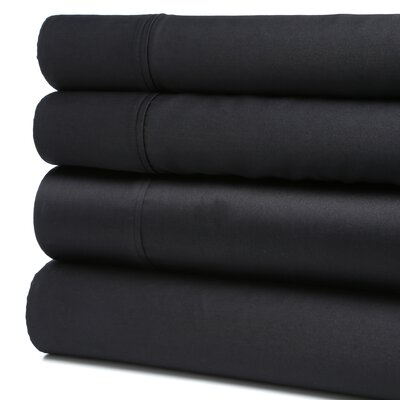 Orleans 300 Thread Count Cotton Sheet Set Size: Twin, Color: Black
