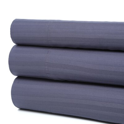 Orleans 300 Thread Count Woven Stripe Sheet Set Color: Pacific Blue, Size: California King