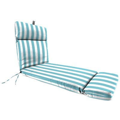 Striped Outdoor Chaise Lounge Cushion Fabric: Cabana Turquoise