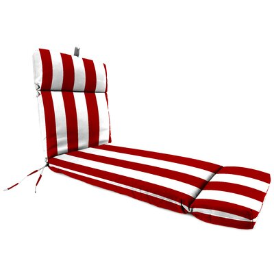 Striped Outdoor Chaise Lounge Cushion Fabric: Cabana Red