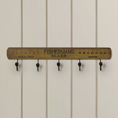 Wood Fisherman's Ruler 5 Wall Hook