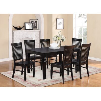 Pennington 7 Piece Wood Dining Set Color: Black