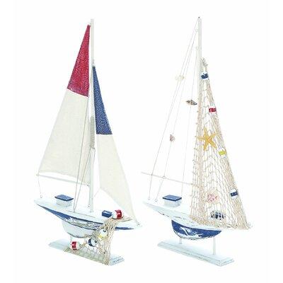 2 Piece Sailing Model Boat Set