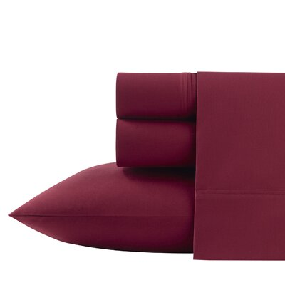 Ayer 200 Thread Count Percale Sheet Set Size: Twin XL, Color: Red