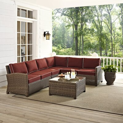 Middlesex 5 Piece Deep Seating Group with Cushion Fabric: Sangria