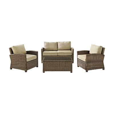 Middlesex 4 Piece Deep Seating Group with Cushion Fabric: Sand