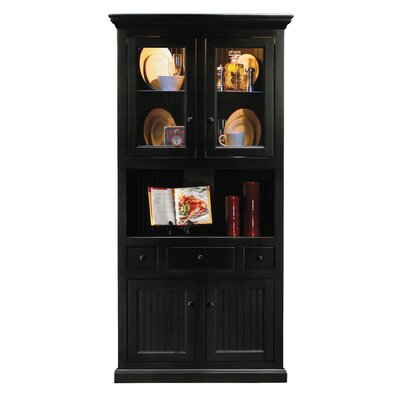 Didier Lighted Corner Display Stand Door Type: Glass, Color: European Coffee