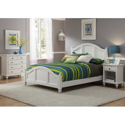 Harrison Traditional Striped Panel 3 Piece Bedroom Set Finish: Brushed White, Size: Queen
