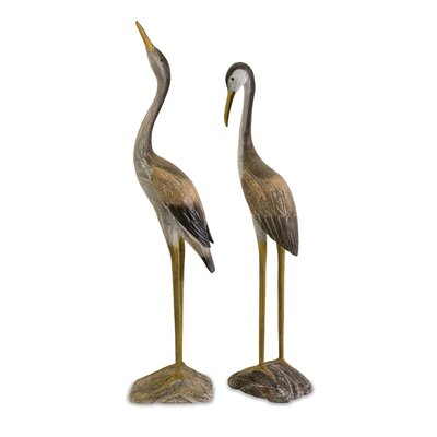 2 Piece Reeds Wood Cranes Figurine Set