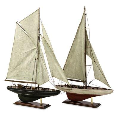 2 Piece Antiqued Sailing Vessel Set