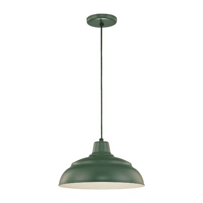 Stetson 1-Light Pendant Finish: Satin Green, Size: 9.25 H x 17 W