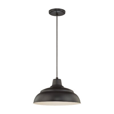 Stetson 1-Light Pendant Finish: Satin Black, Size: 9.25 H x 17 W