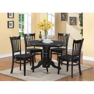 Langwater Traditional 5 Piece Solid Wood Dining Set Color: Black