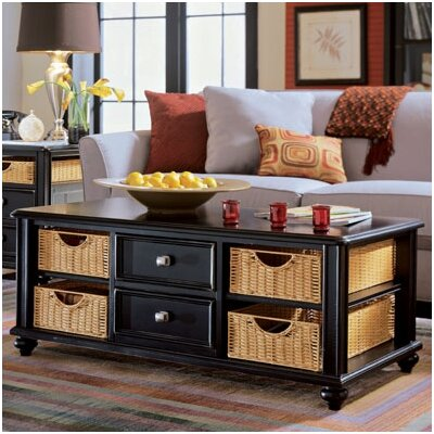 Baileyville 2 Drawer Coffee Table Finish: Black