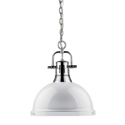 Bodalla 1-Light Chrome Bowl Pendant Shade Color: White