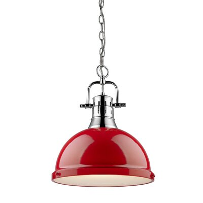 Bodalla 1-Light Chrome Bowl Pendant Shade Color: Red