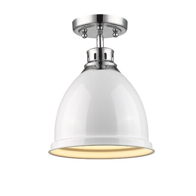 Bowdoinham 1-Light Semi Flush Mount Finish: Chrome, Shade Color: White