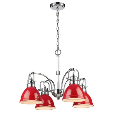 Bowdoinham 4-Light Shaded Chandelier Finish: Chrome, Shade Color: Red