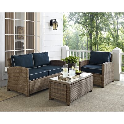 Middlesex 3 Piece Sofa Set with Cushions Fabric: Navy