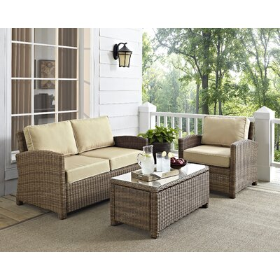 Middlesex 3 Piece Deep Seating Group with Cushion Fabric: Sand