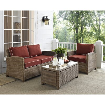 Middlesex 3 Piece Deep Seating Group with Cushion Fabric: Sangria