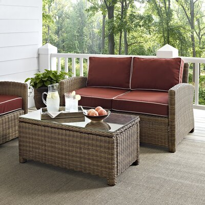 Dardel 2 Piece Deep Seating Group with Cushions Fabric: Sangria