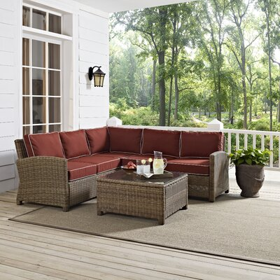 Middlesex 4 Piece Deep Seating Group with Cushions Fabric: Sangria