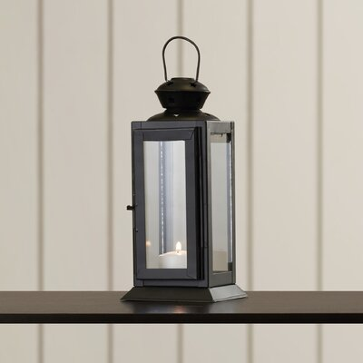 Tall Candle Glass/Metal Lantern Color: Black