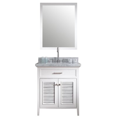 Brewster 31 Single Bathroom Vanity Set with Mirror Base Finish: White