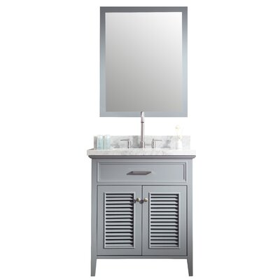 Brewster 31 Single Bathroom Vanity Set with Mirror Base Finish: Grey