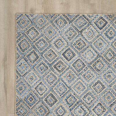Cromwell Hand-Woven Natural/Blue Area Rug Rug Size: 10 x 14