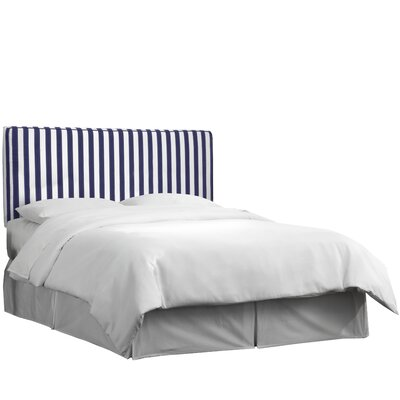 Maplecrest Upholstered Panel Headboard Size: King, Upholstery: Canopy Stripe Blue/White