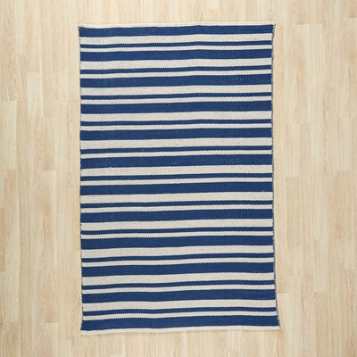 Pierce Hand-Woven Navy/White Area Rug Rug Size: 23 x 39