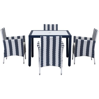 Thorntown 5 Piece Dining Set Finish: Navy/White