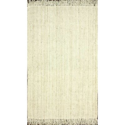 Elana Hand-Woven Bleached Ivory Area Rug Rug Size: Rectangle 8'6