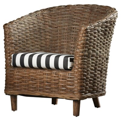 Biscayne Park Barrel Chair Finish: Brown, Upholstery: Black/White
